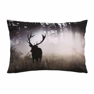 Forest stag cotton printed cushion