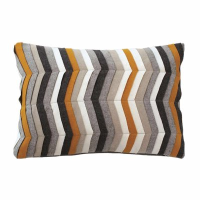 Graphic broken lines mix wool applique cushion