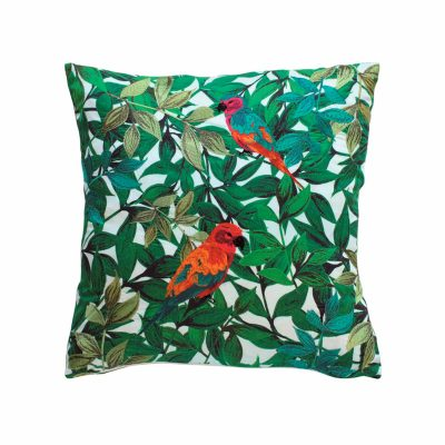 Tropical birds cotton embroidered cushion