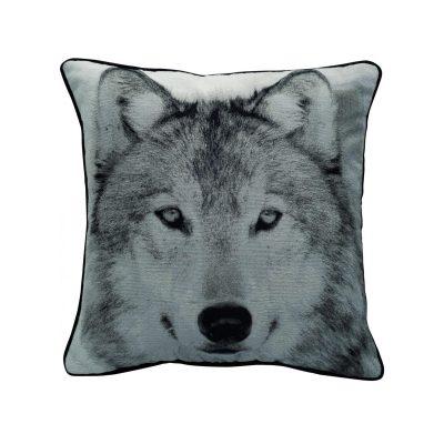 Wolf photo polyester jacquard cushion