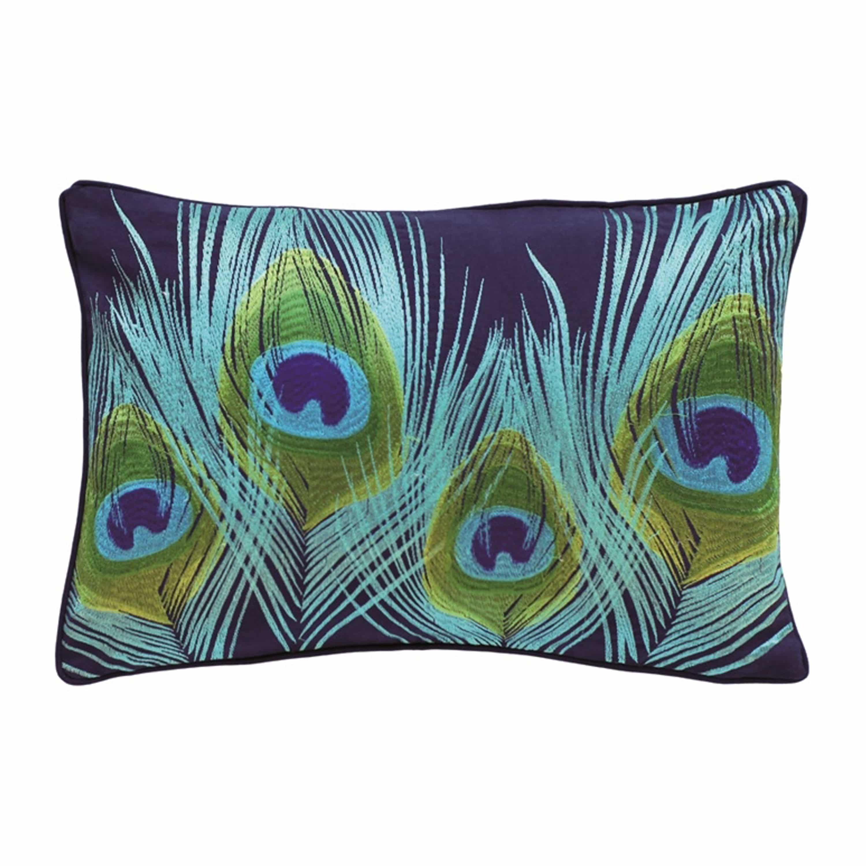 Peacock Cotton Embroided Cushion